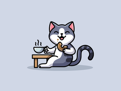 Gray Cat - Cheers! animal pet toast cartoon cheerful happy after work cheers beer character mascot playful fun funny adorable cute gray kitten cat illustration