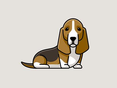 Basset Hound sticker design cartoon playful funny purebred sitting sad brown puppy character mascot illustration adorable cute pet animal doggie dog breed basset hound