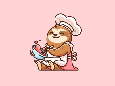 Sloth making Pudding cooking chef animal purin japanese pudding feminine female adorable cute logo illustration illustrative logo character mascot cartoon identity branding brand logo sloth