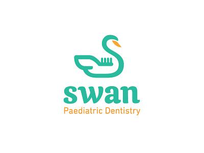 Swan + Toothbrush animal dentist teeth tooth cute duck logo children care dental toothbrush swan