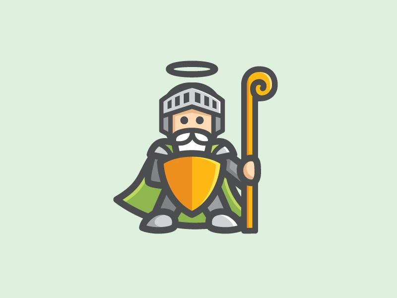 DewaGuard - Option 1 god shield protection logo identity character cute illustration software security antivirus armor fun