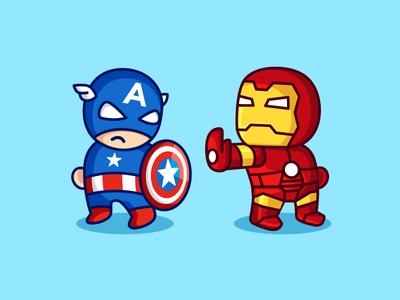 Civil War ironman iron man comic movie superhero hero mascot cute captain america illustration character cartoon logo