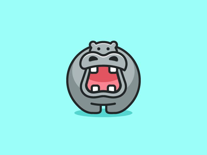 Hippo logo mark symbol icon hippo hippopotamus illustration illustrative child children app apps application character mascot geometry geometric flat cartoon comic brand branding identity cute fun funny animal