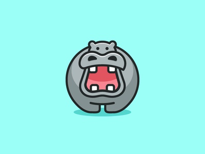 Hippo logo mark symbol icon hippo hippopotamus illustration illustrative child children app apps application character mascot geometry geometric flat cartoon comic brand branding identity cute fun funny animal