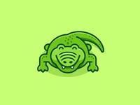 Crocodile animal reptile cute fun funny brand branding identity flat cartoon comic geometry geometric character mascot app apps application child children illustration illustrative crocodile symbol icon logo mark