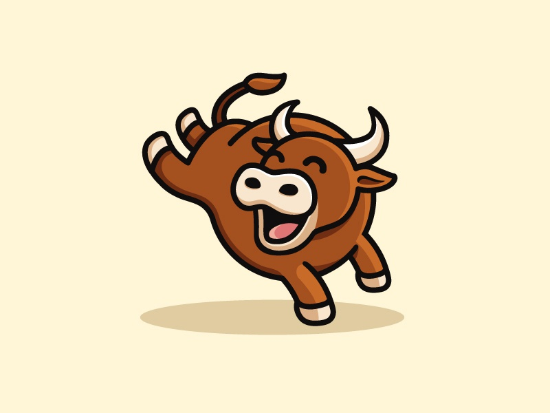 Happy Bull symbol icon logo mark animal character mascot spain illustration happy happiness bull matador toro child children app apps application geometry geometric flat cartoon comic brand branding identity cute fun funny