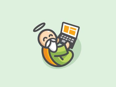DewaSurf - Option 1 program programming logo identity brand branding character mascot cartoon illustration internet software happy god laptop notebook fun funny cute surf surfing app apps application web template