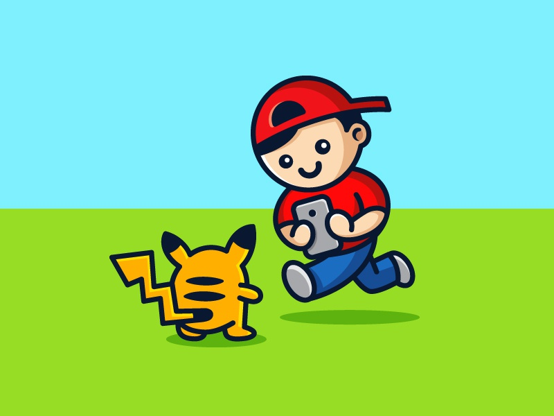 2016 Trending Pose logo game play cartoon nintendo innovation technology mascot people cute fun funny catch catching trainer pose hunt hunting trend trending pokemon go pikachu character illustration illustrative