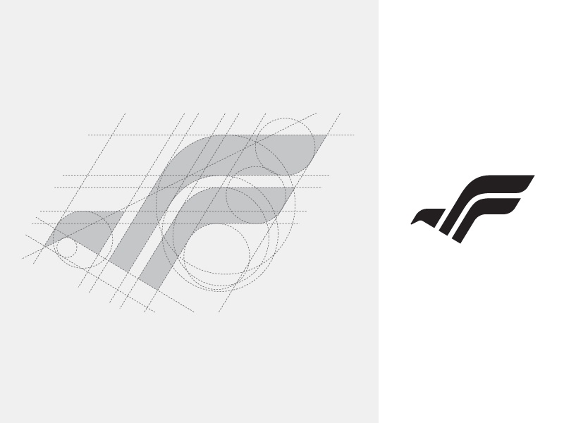 F + Bird geometry geometric shape ui ux abstract initial game web website app apps application wings freedom grid construction fly flying animal bird eagle falcon f monogram brand branding logo identity