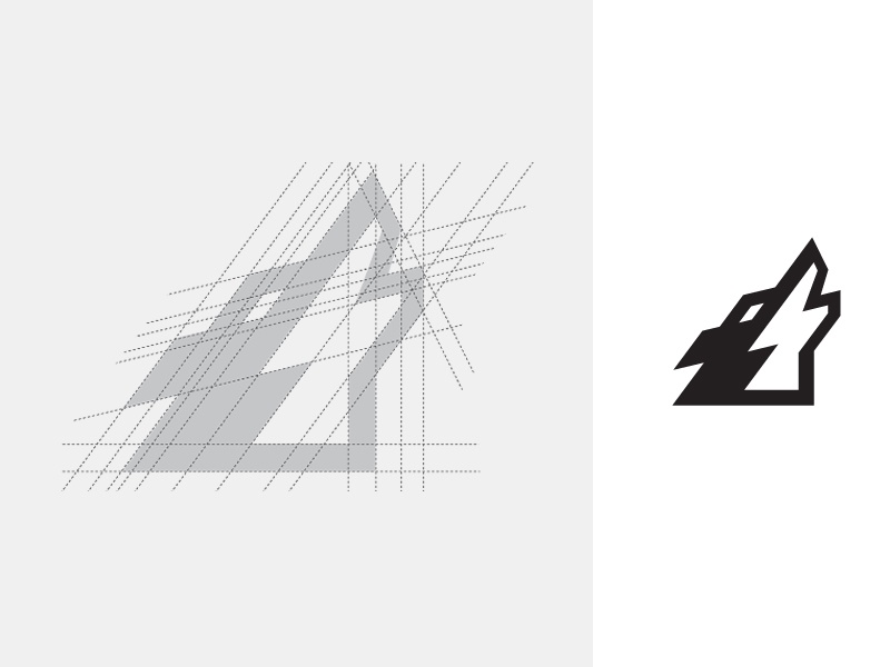 Howling Wolf logo identity brand branding masculine wild wolf animal edgy sharp icon grid construction howl howling app apps application web website initial game ui ux abstract geometry geometric shape