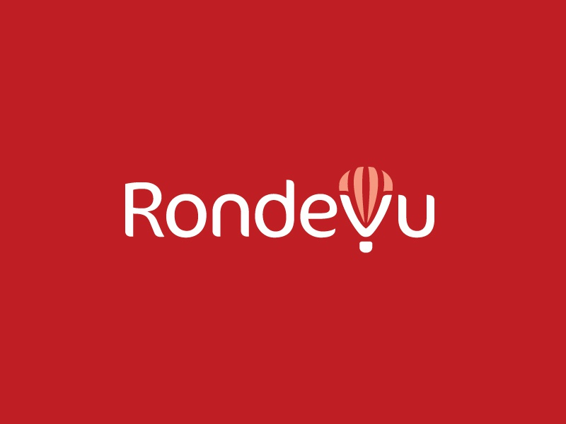 Rondevu - Final Logo wordmark logotype trip vacation holiday adventure freedom v monogram explore world digital nomad online global booking book travel tour hot air balloon brand branding logo identity