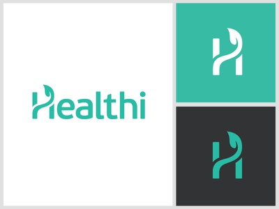 Healthi clean simple modern friendly care patient illness life growth doctor physician logo identity h monogram leaf plant future futuristic health medical clinic app apps application web website brand branding