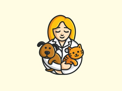 Veterinary geometry geometric hug warm medical food doctor people animal character illustrative illustration friendly cat veterinary veterinarian care clinic flat cartoon comic logo identity cute fun funny pet dog puppy