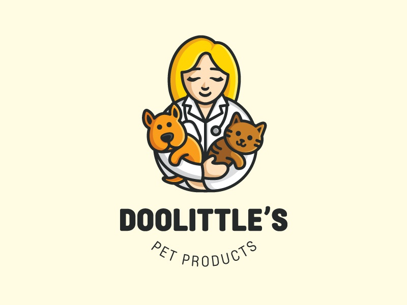 Veterinary - Final pet dog puppy cute fun funny logo identity flat cartoon comic care clinic veterinary veterinarian friendly cat illustrative illustration animal character doctor people medical food geometry geometric hug warm