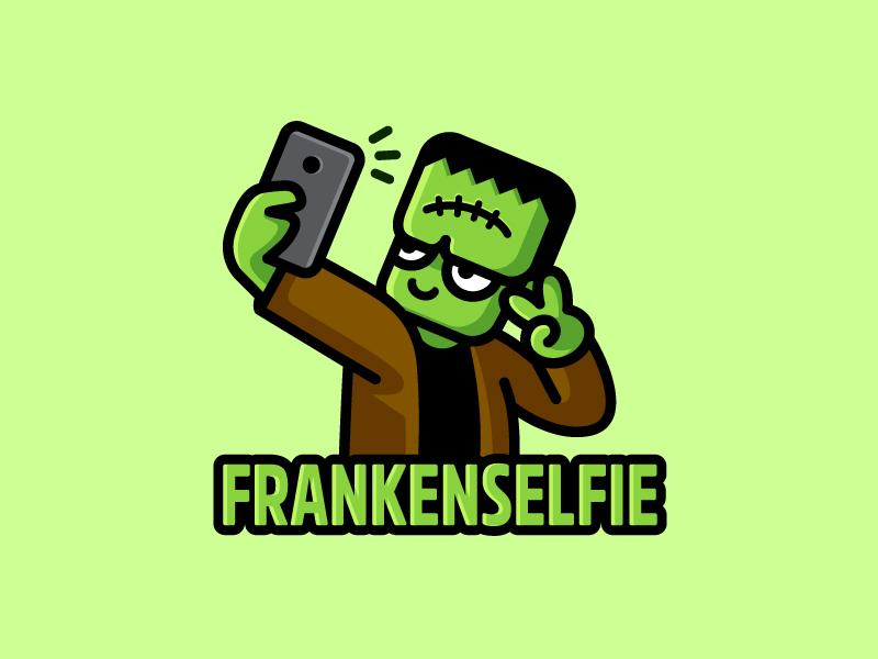 Frankenselfie trick or treat logo identity brand branding frankenstein monster character horror cute fun funny selfie photo scary creepy flat cartoon comic kids children halloween helloween illustrative illustration