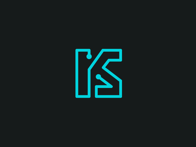 KS + Circuit home appliances lettering wordmark data abstract circuit board connection line modern electron tech technology electronic electric k s initial ks monogram brand branding logo identity