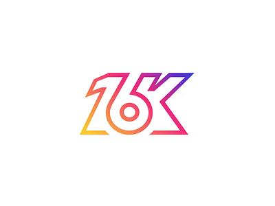 16K Followers! celebration happy initial number font treatment typography lettering achievement milestone follow following instagram follower 16 k monogram brand branding logo identity