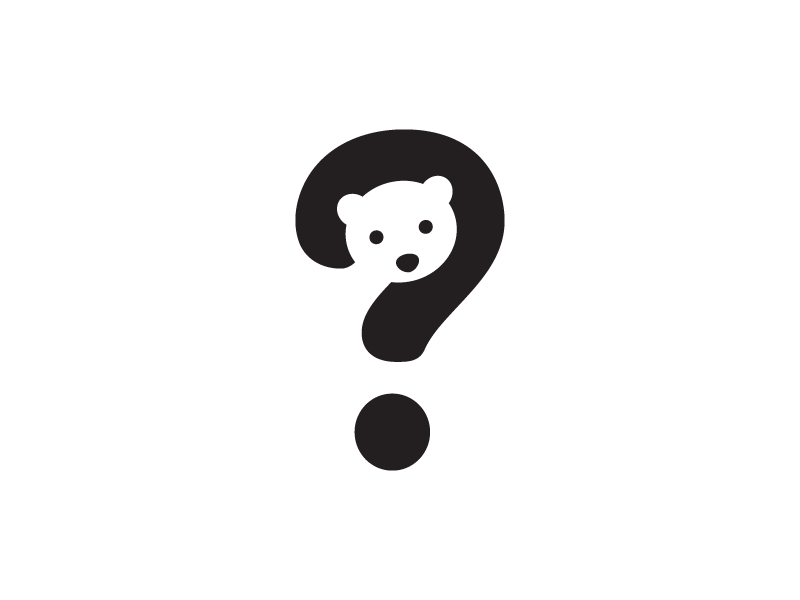 Bear + Question Mark brand hidden illustrative illustration negative space playing ball app apps application baby cute fun smart clever black and white question mark animal playful polar bear logo identity