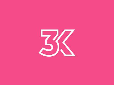 3K Followers! logo identity brand branding 3k 3000 dribbble follower follow following milestone achievement lettering typography monogram font treatment initial number celebration happy