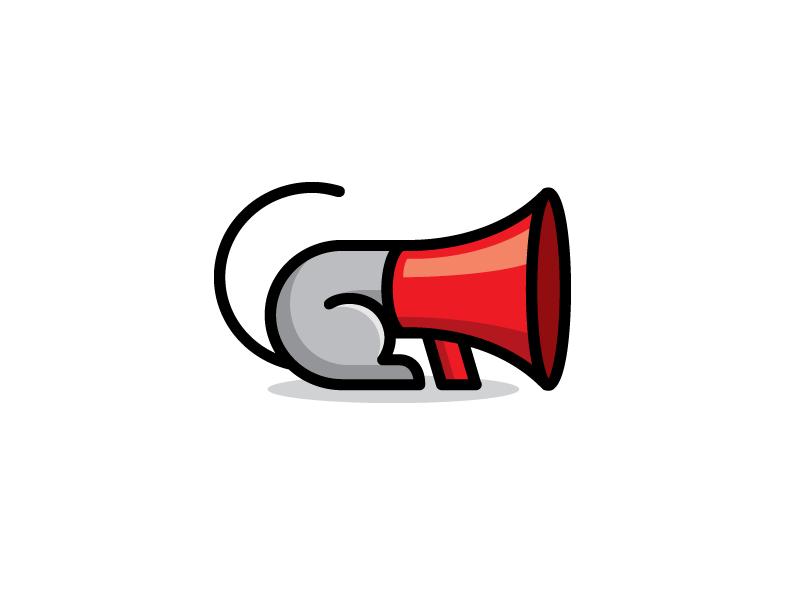 Mouse + Megaphone marketing agency flat digital illustrative illustration cute fun funny cartoon comic mascot character scream screaming speaker sound megaphone loud mouse mice brand branding logo identity
