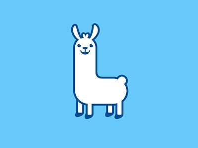 Llama flat comic happy pet child children l monogram brand branding logo identity cartoon mascot cute fun funny geometric geometry llama alpaca animal character illustration illustrative