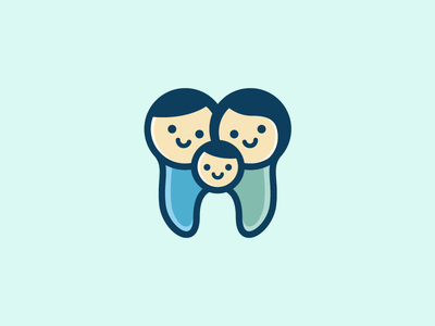 Family Dental - Opt 1 smile people cartoon character child children soft feminine hug relationship love care father mother son cute fun friendly tooth teeth family dental brand branding logo identity
