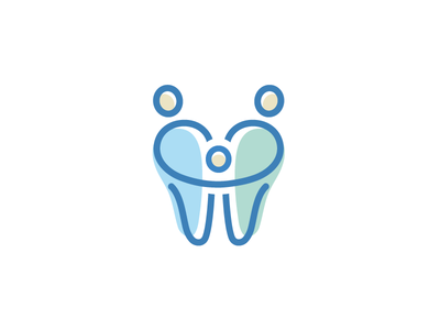 Family Dental - Opt 2 logo identity brand branding family dental tooth teeth cute fun friendly father mother son love care hug relationship soft feminine child children cartoon character smile people