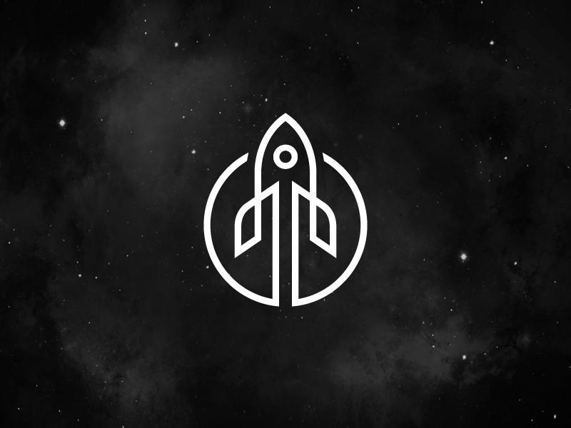 Rocket - Opt 2 app web ui elegant luxury dynamic motion logo identity brand branding fly flying rocket spacecraft abstract stroke astronomy outer earth planet line monoline smart creative