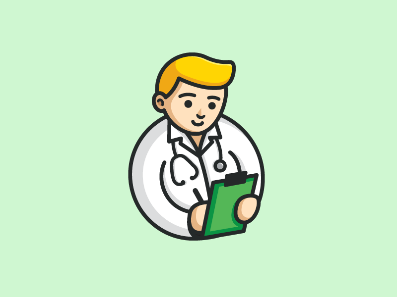 Doctor app apps application cute fun mobile logo identity flat cartoon comic clinic hospital health healthy illustrative illustration friendly character doctor people medical record circle round geometry geometric