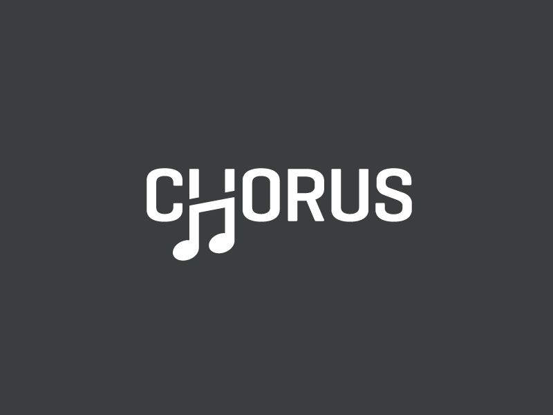 Chorus rhythm elegant unique clever h letter creative smart font typography logotype wordmark music note song melody sing singer chorus choir brand branding logo identity