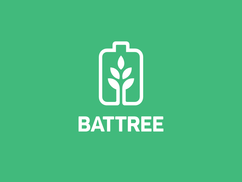 Battery + Tree smart creative tech technology plant organic tree leaf mobile app grow growth product environment battery charger eco green line monoline brand branding logo identity
