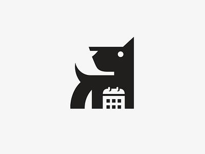 Dog + Calendar pet daycare calendar data online booking illustrative illustration task management negative space simple abstract puppy dog animal pet smart creative schedule plan logo identity