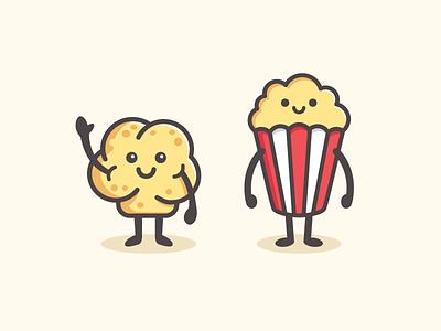 Popcorn Character friendly children logo identity brand branding happy simple food snack cinema movie marketing campaign cute fun friendly gourmet popcorn illustrative illustration character mascot smile smiling