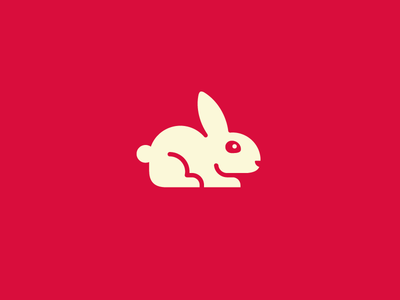 Tiny Rabbit kid children logo identity mark symbol brand branding cute animal geometry geometric mascot character simple minimalist circle rounded rabbit bunny illustration modern