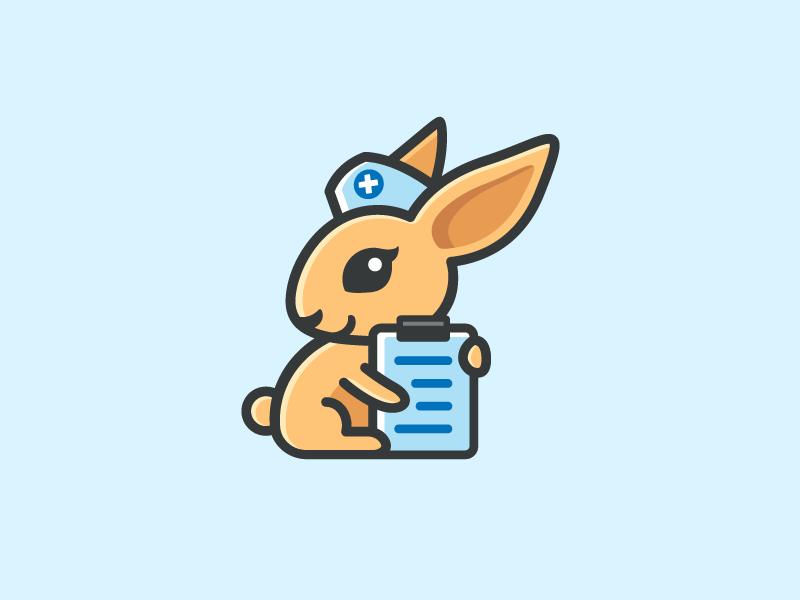 Rabbit Nurse doctor health animal illustration nurse medical character mascot cute cartoon clipboard fun funny rabbit bunny smile happy pretty beautiful women woman brand branding logo identity