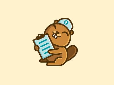 Beaver Nurse logo identity brand branding medical software web website smile happy beaver clipboard fun funny cute cartoon character mascot nurse nursery animal illustration doctor health
