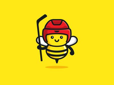 Hockey Bee cute fun funny brand identity child children bee sport illustrative illustration animal character mascot logo mark insect ui ux icon comic friendly flat cartoon ice hockey geometry geometric