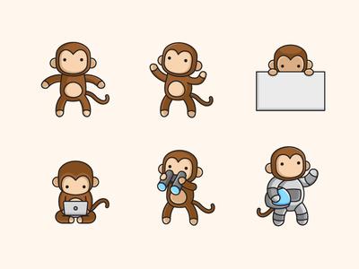 Monkey ui ux web character mascot illustrative illustration space astronaut cute fun friendly marketing campaign ape primate monkey animal happy simple brand branding logo identity friendly children