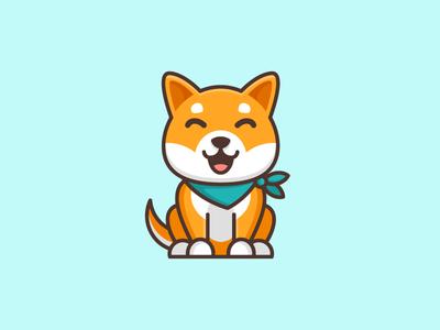 Shiba Inu Dog - Opt 1 symbol icon logo mark character mascot illustrative illustration shiba inu dog friendly animal japan japanese geometry geometric flat cartoon comic brand branding cute fun funny pet puppy