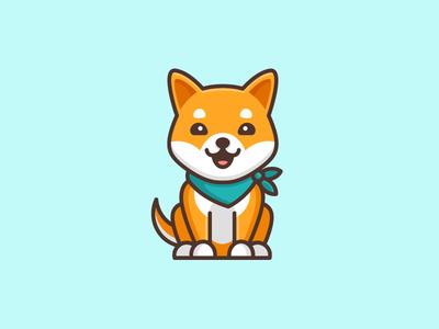 Shiba Inu Dog - Opt 2 symbol icon logo mark character mascot illustrative illustration shiba inu dog friendly animal japan japanese geometry geometric flat cartoon comic brand branding cute fun funny pet puppy