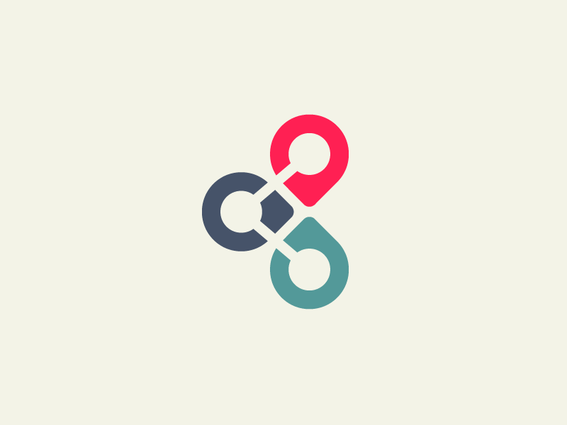 Share Location - Opt 2 logo identity brand branding smart clever mark symbol geometry geometric location locator map pin share sharing color colorful simple minimalist app application negative space
