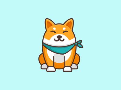 Shiba Inu Dog - Opt 3 pet puppy cute fun funny brand branding flat cartoon comic geometry geometric japan japanese friendly animal shiba inu dog illustrative illustration happy character mascot logo mark symbol icon