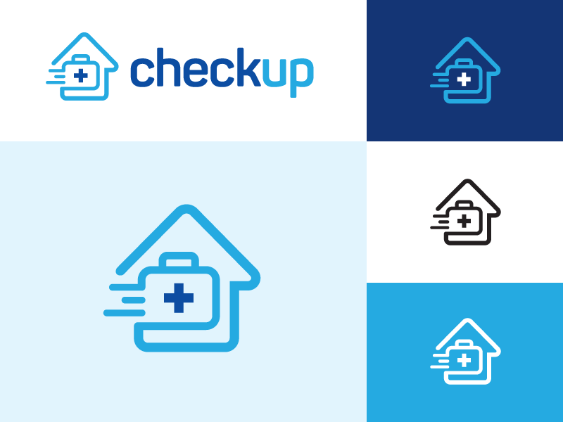 Checkup at Home line outline symbol icon app technology medical kit nurse call home house fast on demand doctor physician checkup health urgent care brand branding logo identity