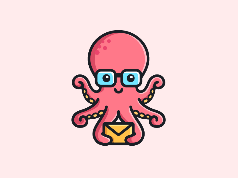 Octopus - Opt 1 water geek nerd cute fun funny brand branding flat cartoon comic message email friendly animal sea ocean octopus tentacle illustrative illustration character mascot logo identity symbol icon
