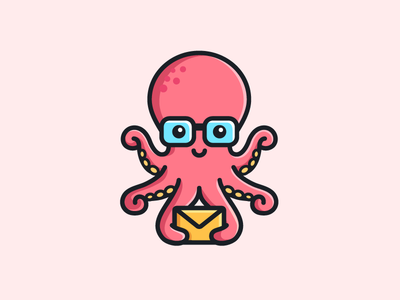 Octopus - Opt 1 water geek nerd cute fun funny brand branding flat cartoon comic message email friendly animal sea ocean octopus tentacle illustrative illustration character mascot logo identity symbol icon