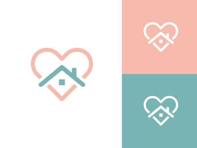Home Care logo identity brand branding urgent care checkup health doctor physician soft feminine home house love heart women woman app medical symbol icon line outline