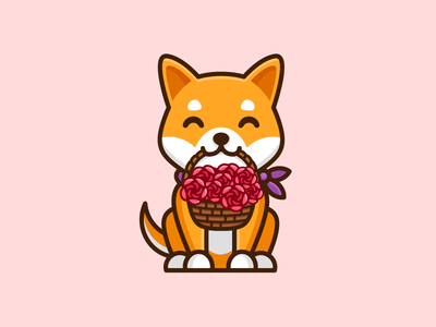 Happy Mother's Day! love care happy flower rose character mascot illustrative illustration shiba inu dog friendly animal japan japanese parent motherhood woman women mothers day cute fun funny pet puppy