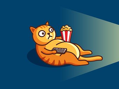 Movie Time! animal pet film video fat cat kitten illustrative illustration lazy weekend snack popcorn tv television theater cinema watch movie cute fun funny brand branding logo identity