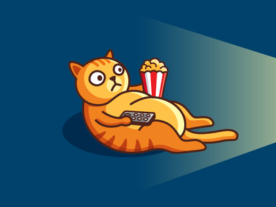 Movie Time! animal pet film video fat cat kitten illustrative illustration lazy weekend snack popcorn tv television theater cinema watch movie cute fun funny brand branding logo identity
