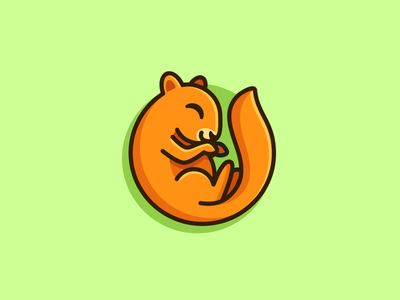 Sleeping Squirrel lazy weekend sleep nap cute fun funny brand identity flat cartoon comic geometry circle child children cartoon illustration character mascot animal squirrel logo mark symbol icon